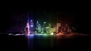 lit up city